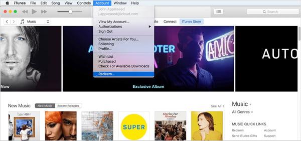 Riscatta la carta regalo iTunes tramite iTunes