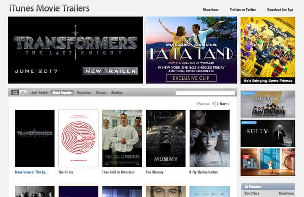 Sito Web iTunes Movie Trailers