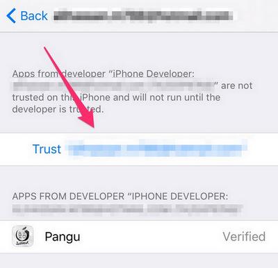 Zaufaj aplikacji Pangu Jailbreak