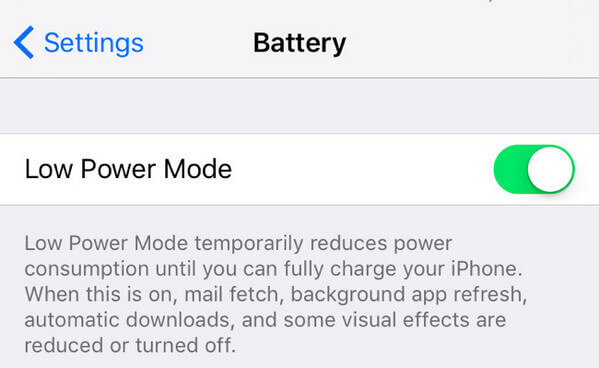 Lower Power Mode above iPhone Battery Percentage