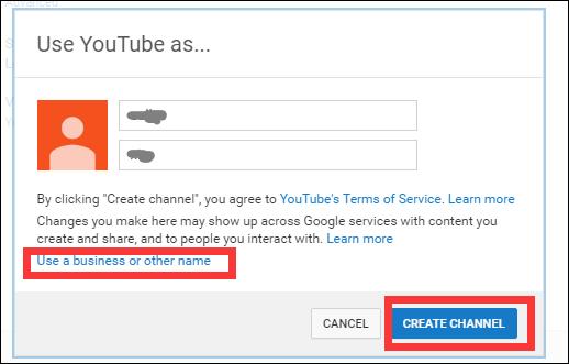 Crea la scelta del canale YouTube