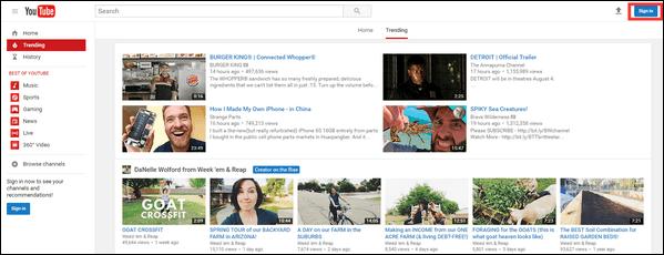 Accedi a YouTube
