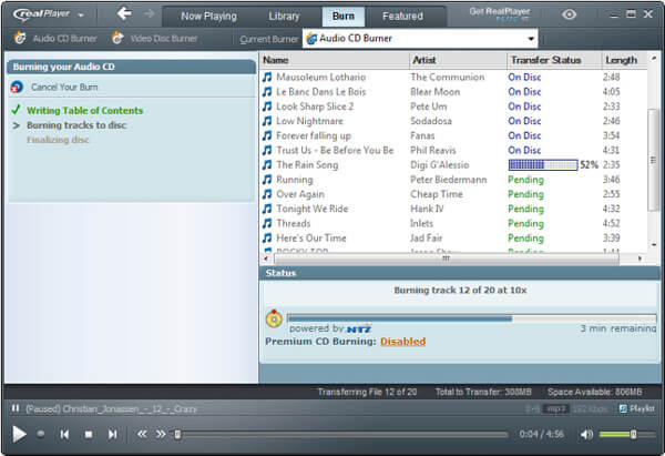 Masterizza musica su CD con RealPlayer