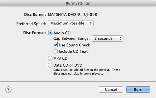 在將音樂刻錄到CD之前先刻錄設置
