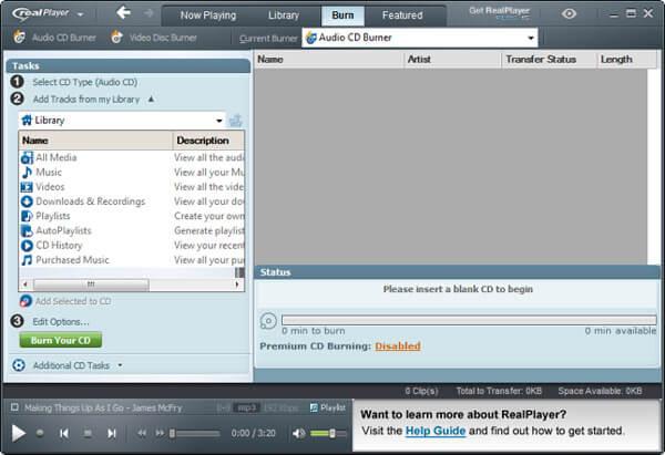 RealPlayer中的CD刻錄窗口