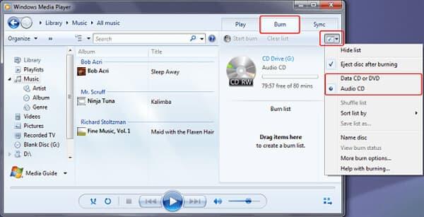 選擇要刻錄的CD類型