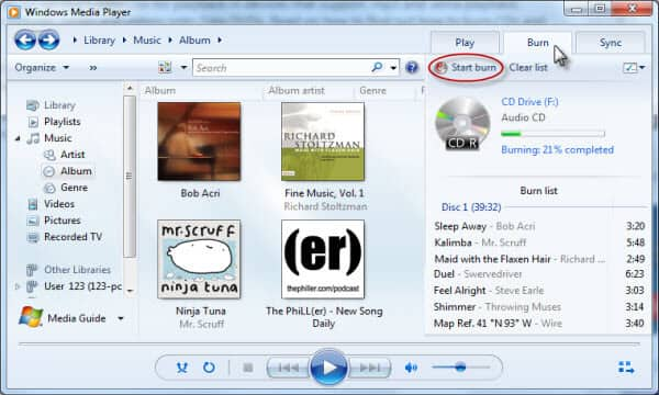 Masterizza musica su un CD con Windows Media Player