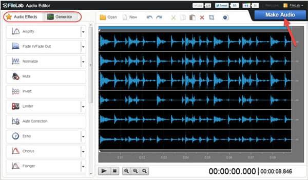 Online audio editor free: filelab audio editor.