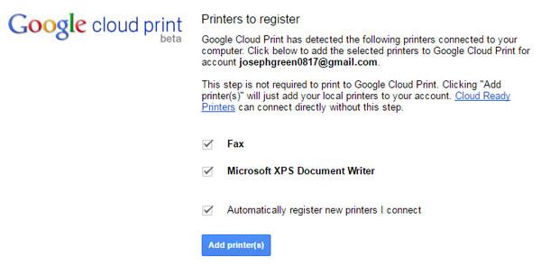 Προσθήκη Google Cloud Print