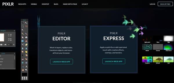 Εκκίνηση του Pixlr Editor