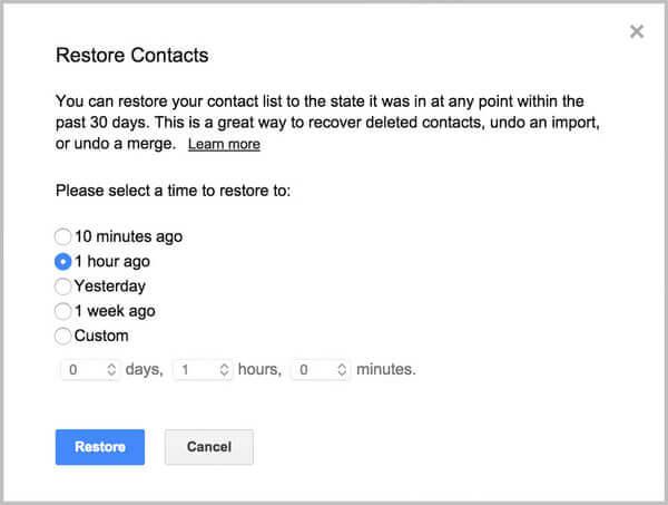 Επαναφορά επαφών Gmail