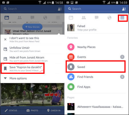 Salva video di Facebook su Android