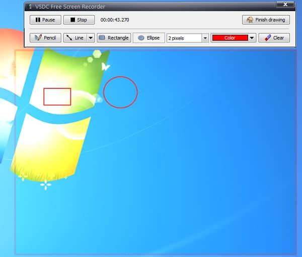 Schermata di registrazione Vsdc