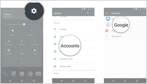 Λογαριασμός Google στις Ρυθμίσεις Android