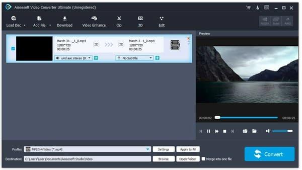 Importa file video