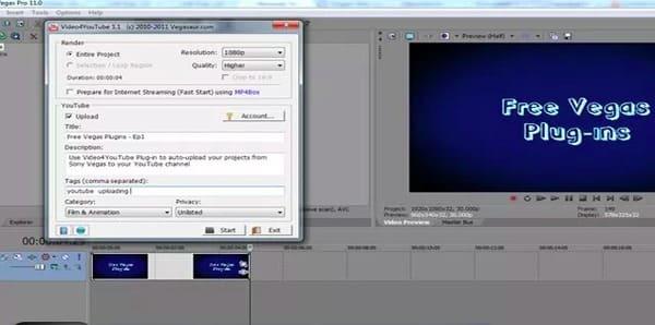Video4youtube Plug-in gratuito per Sony Vegas
