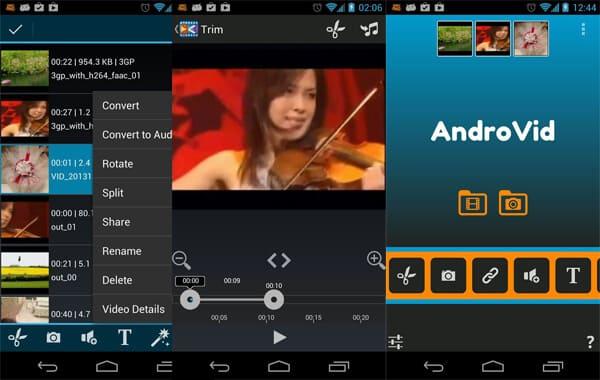 Πρόγραμμα επεξεργασίας βίντεο AndroVid