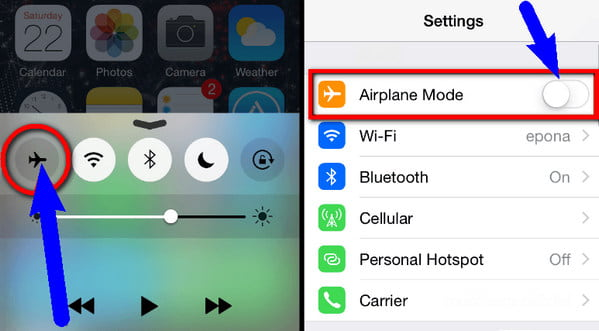 Switch on Airplane Mode