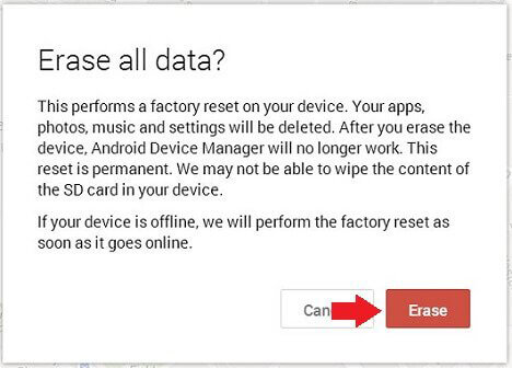 Gestione dispositivi Android Cancella telefono Android