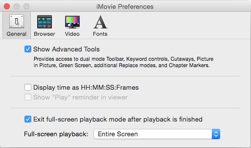 Impostazioni preferenze di iMovie