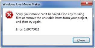 Codice di errore di Windows Movie Maker