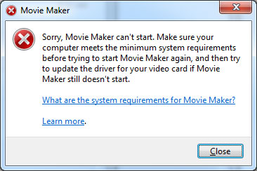 Windows Movie Maker non si aprirà