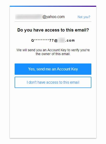 Zašlete klíč účtu do e-mailu pro obnovení