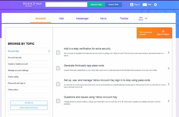 Stránky nápovědy Yahoo
