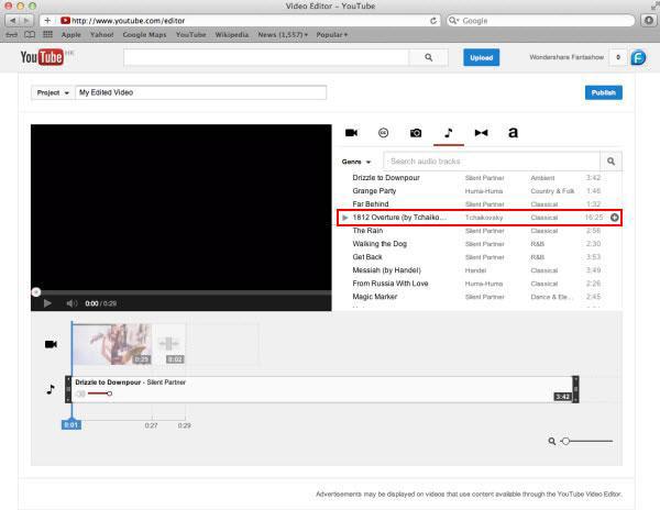 Aggiungi audio al video con YouTube Video Editor