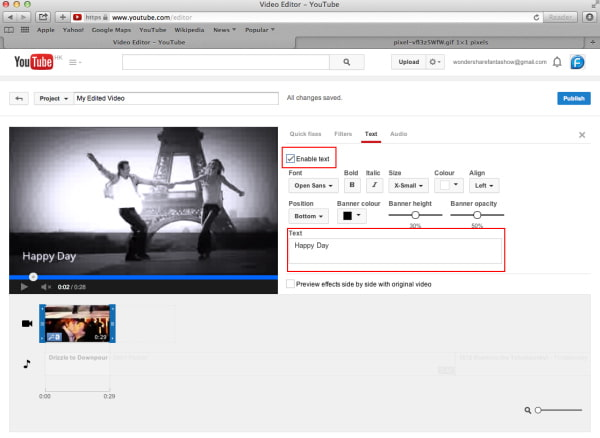 Aggiungi testo con YouTube Video Editor