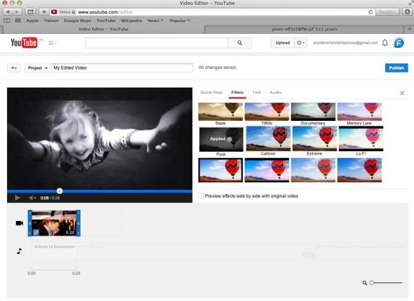Aggiungi filtri con YouTube Video Editor