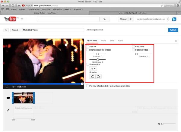 Modifica le impostazioni video con YouTube Video Editor