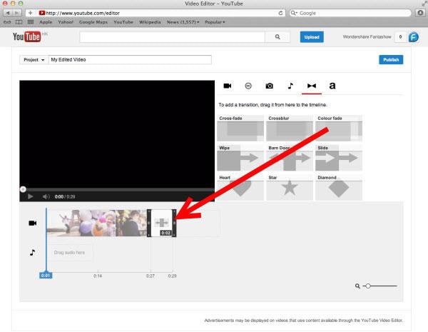 Aggiungi transizioni al video con YouTube Video Editor