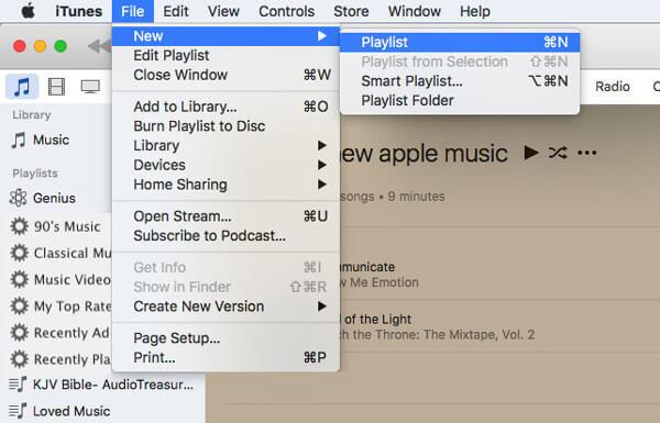 Utwórz nową listę odtwarzania iTunes
