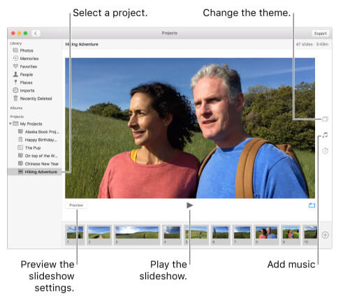 Make Slidershow with Music in iPhoto