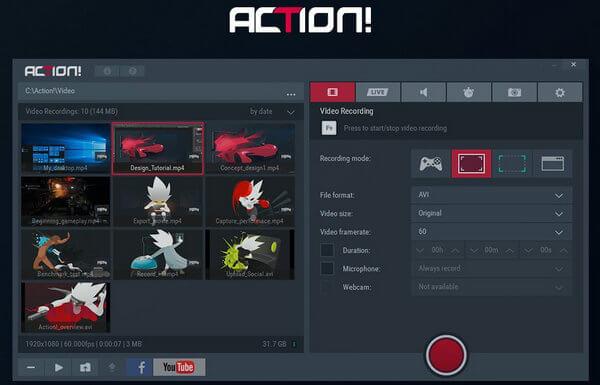 Miglior software di registrazione del gioco - Azione