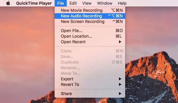 Νέα εγγραφή ήχου από το QuickTime Player