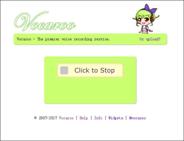 Registra audio tramite Vocaroo