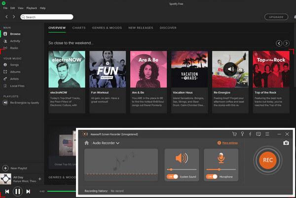 Registra musica Spotify