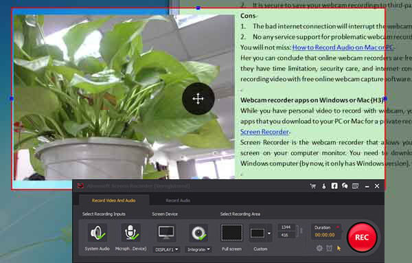 Registra video webcam