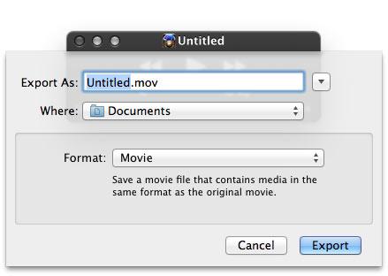 使用Quicktime保存音頻文件