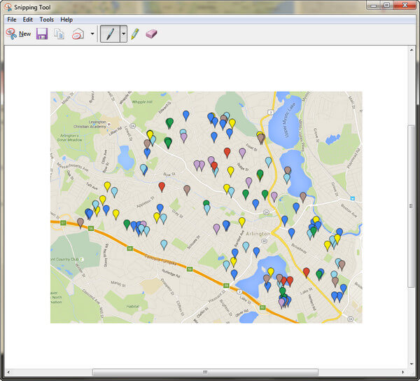 Screenshot Google Maps with Snipping Tool