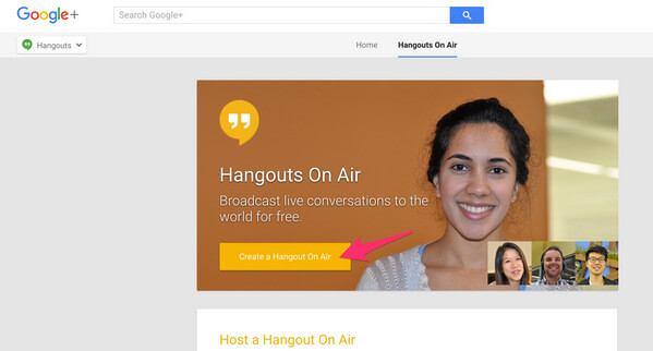 Select Google Hangout On Air