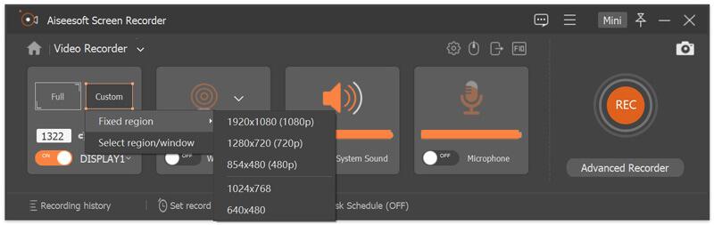 Wybierz obszar nagrania audio