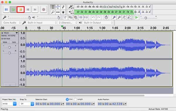 停止使用Audacity錄製音頻