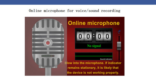 Interface of Toolster Online Microphone