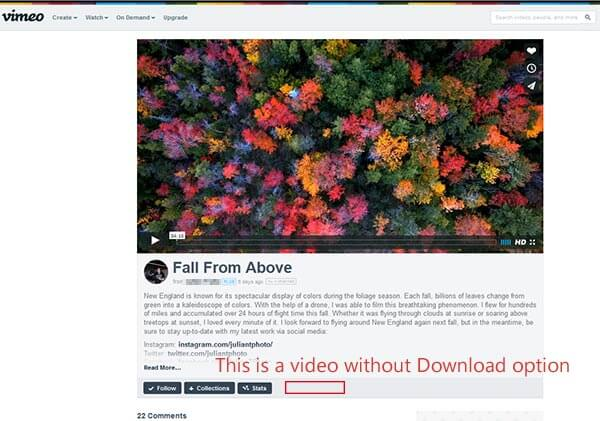 Video cannot be downloaded directly from Vimeo