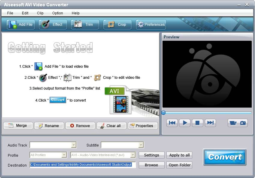 Screenshot of Aiseesoft AVI Video Converter