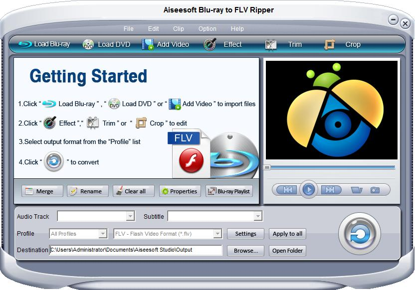 Click to view Aiseesoft Blu-ray to FLV Ripper screenshots
