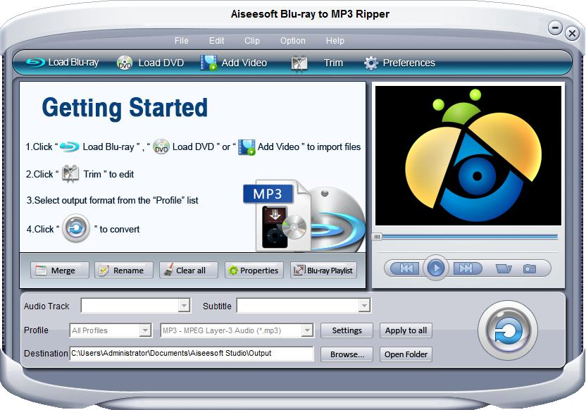 Aiseesoft Blu-ray to MP3 ripper Screen shot